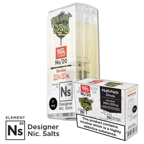 FNGS Neon Green Slushy 20mg Nic Salt gusto mini