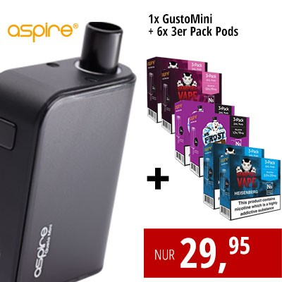 Gusto Mini + 6x3er PodPacks (Dr. Frost, Heisenberg, Pinkman)